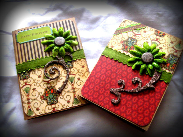 Holiday Cards in Red, Brown and Green