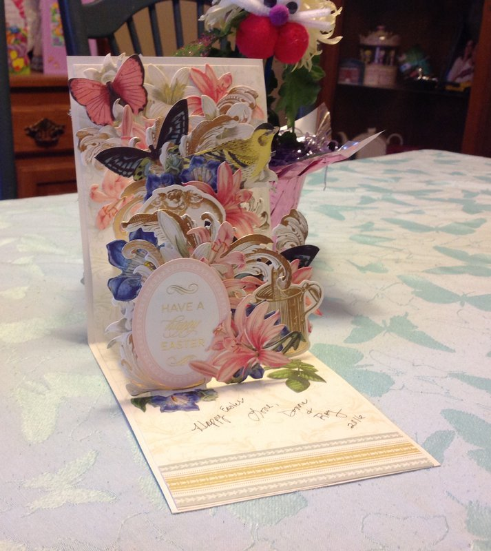 Inside of two Anna Griffin Easter pop up cards