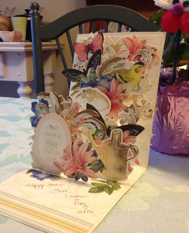 Inside of Anna Griffin Easter pop up card