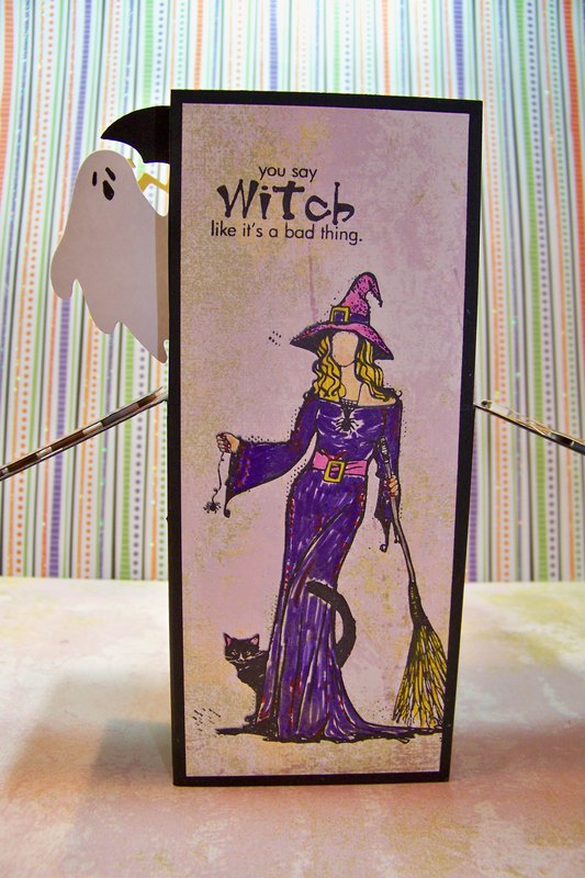Witch Halloween folding box card