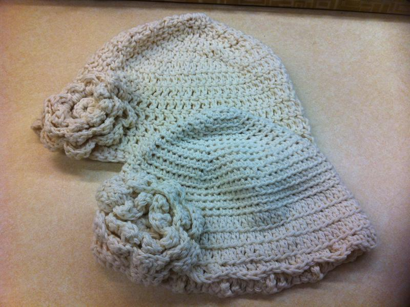 Crocheted chemo caps for Mother and Daughter