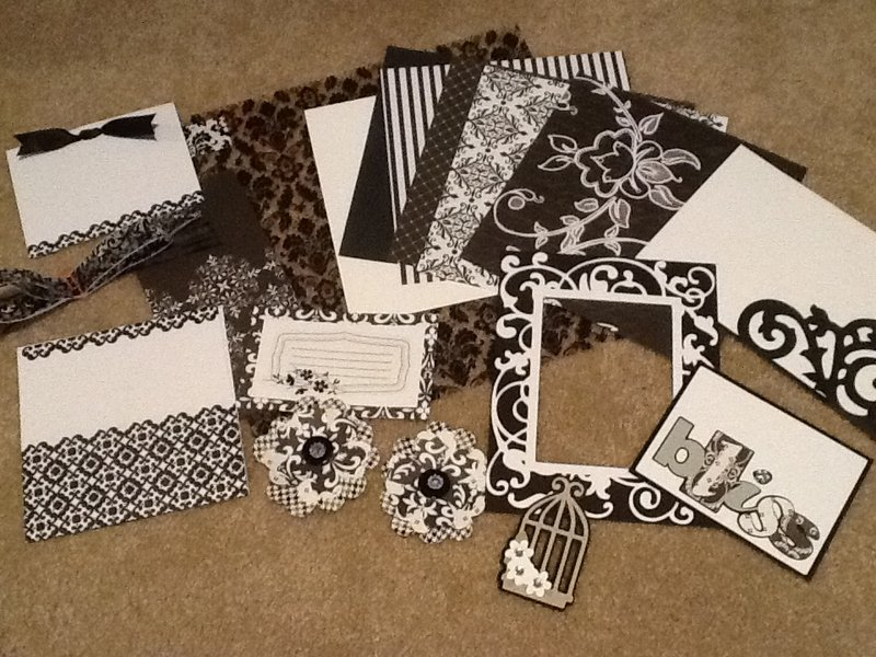 April Kit Swap - Black & White with diamonds Theme #1