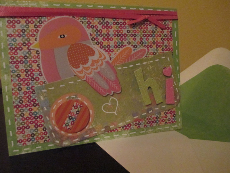 Just HI!  with lined envelope. Love the Birdie!