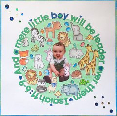 Lawn Fawn Scrapbook page- A Little Boy Will Be Leader Over Them