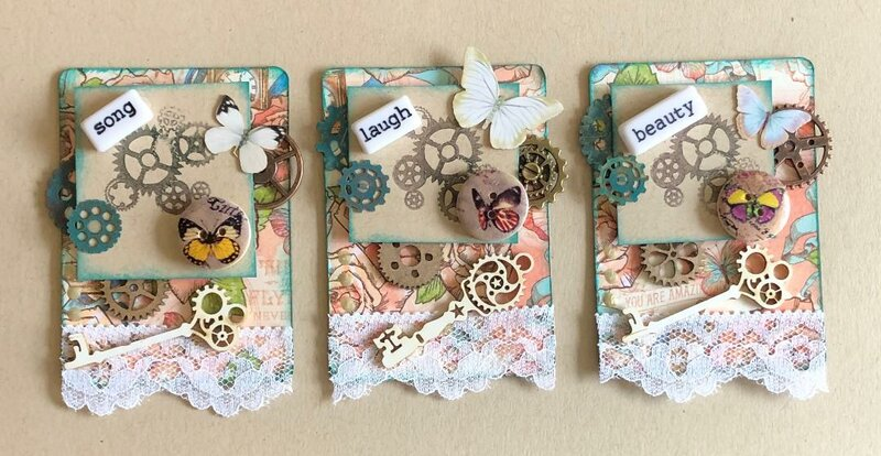 Stamped Steampunk ATCs