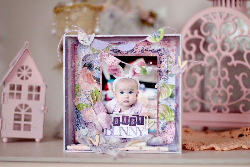Baby bunny shadow box