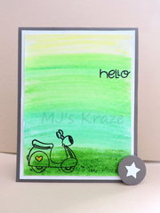 Green Ombre Hello Card
