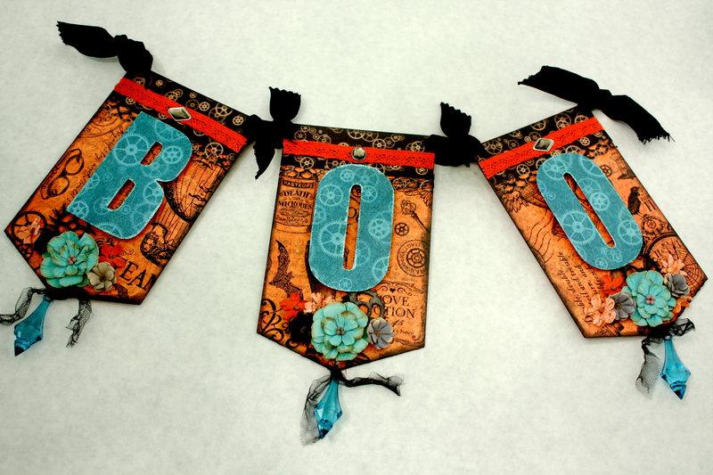 Graphic 45 Steampunk Spells BOO Halloween Banner