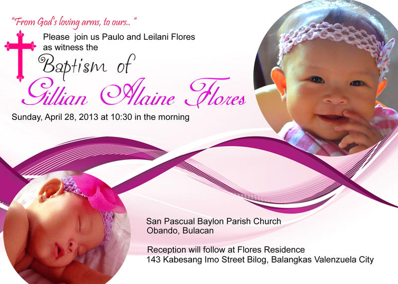 Lian's Christening invitation