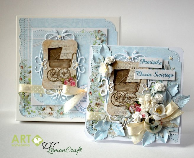 Christening card with matching box for a boy