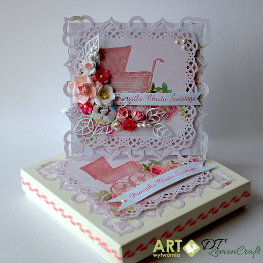 Christening card with matching box for a girl