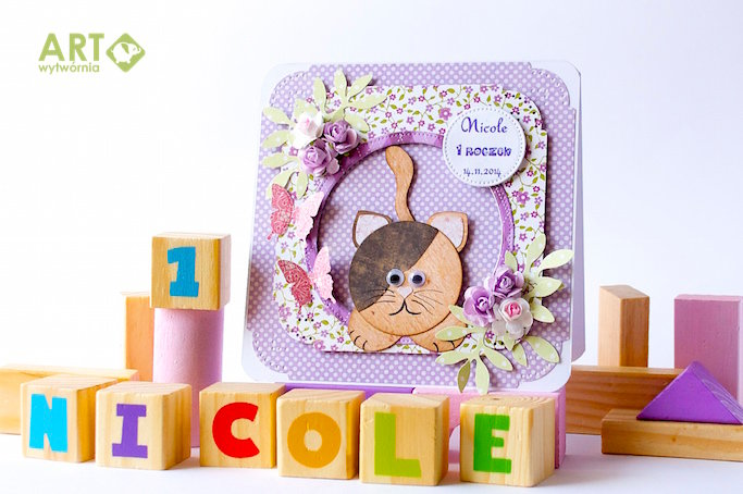 A card with kitty for 1-year old Nicole