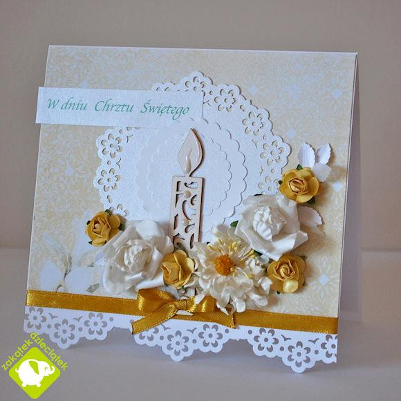 Christening card with a candle
