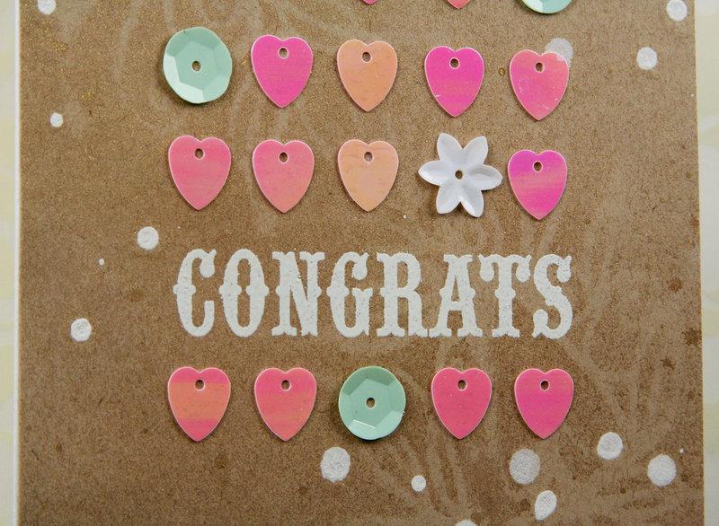 Heart Sequin Grid Congrats Card