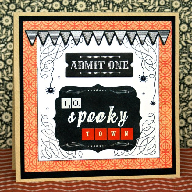 Admit One To Spooky Town (Halloween Card)