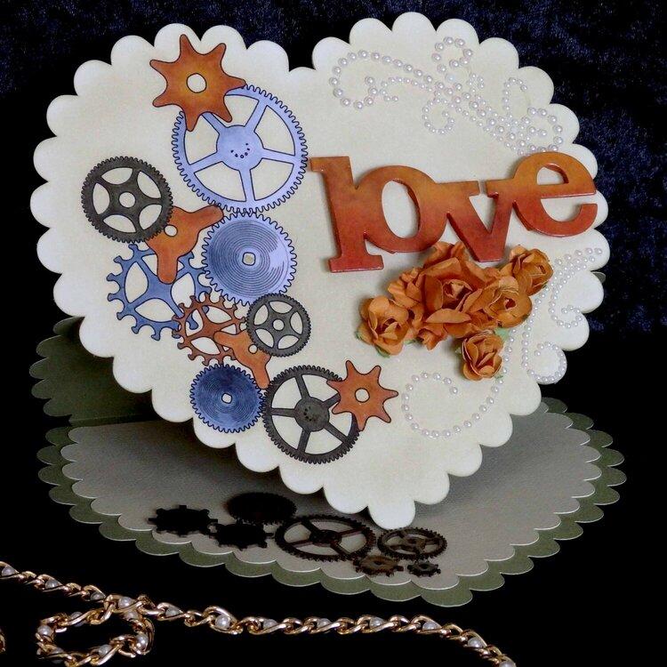 Steampunk valentine heart card