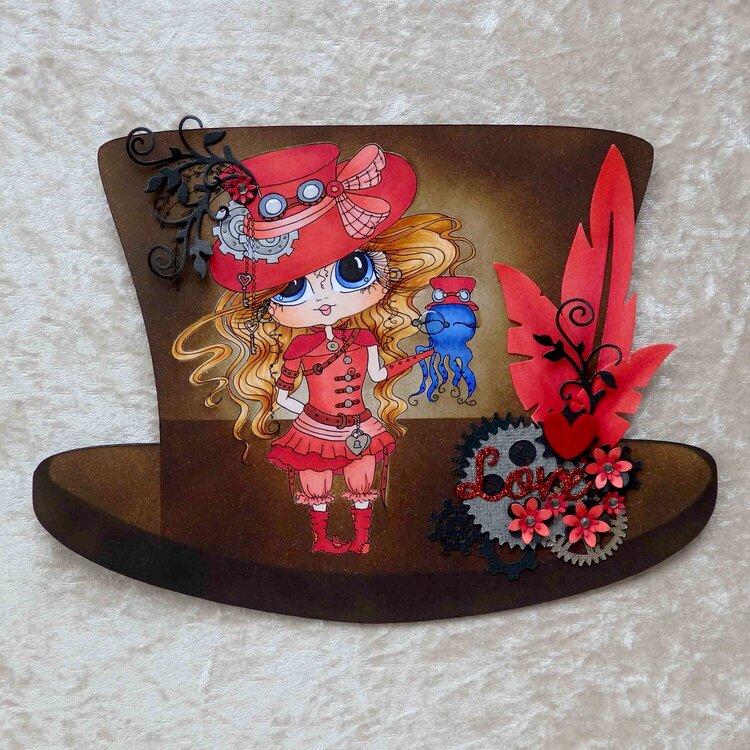 Steampunk top hat card
