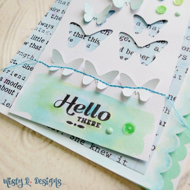 Hello There watercolor die cut negative card