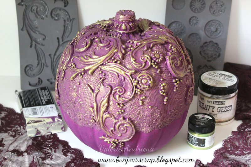 Altered pumpkin with Prima moulds