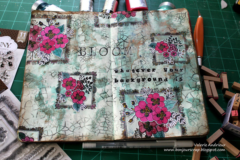 Bloom - an art journal spread