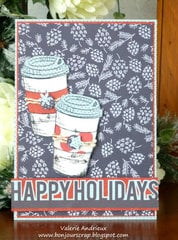 Happy Holidays card with Tim Holtz stamp