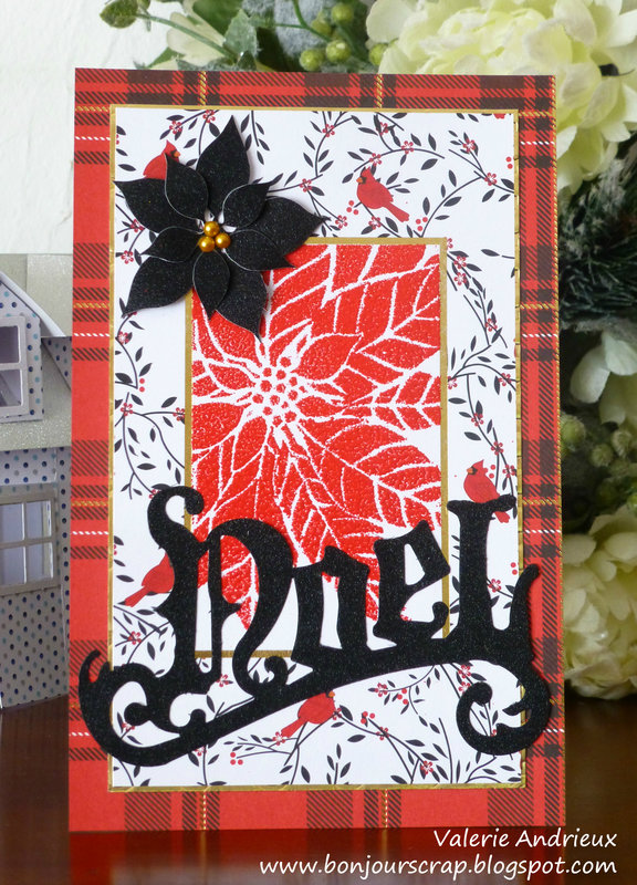 Black Noel and red poinsettia - A Christmas card