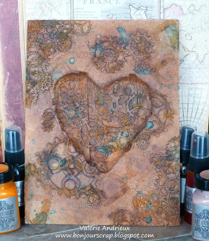 Steampunk heart altered canvas