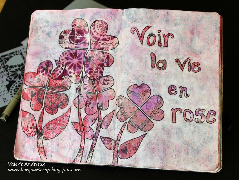 Voir la vie en rose art journal spread