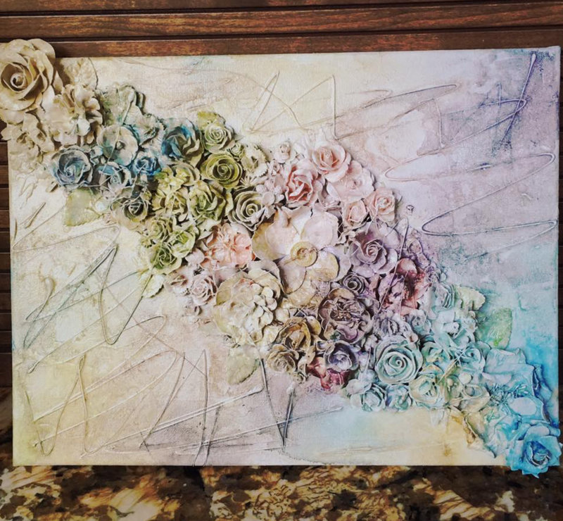 Flower mixed media canvas