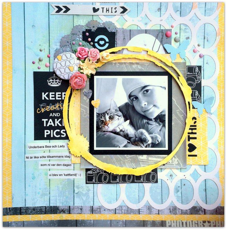 'Take Pics' for Les Papiers de Pandore (with Blue Fern chipboard).