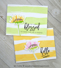 Striped Watercolor Sunflowers