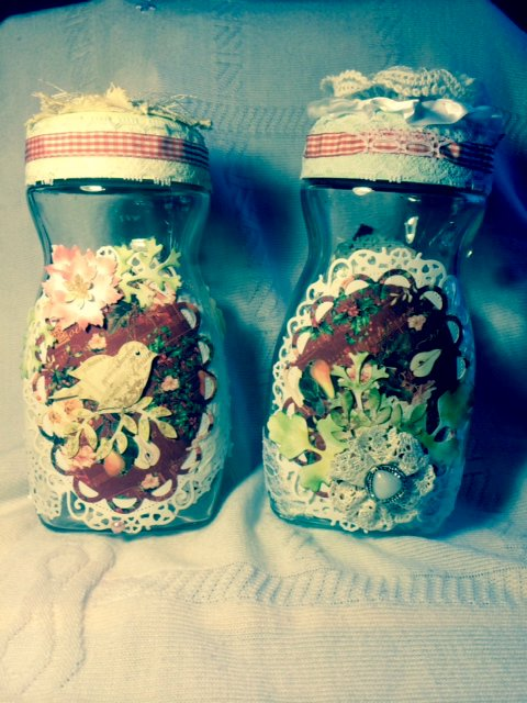 Altered Christmas Jars/ front