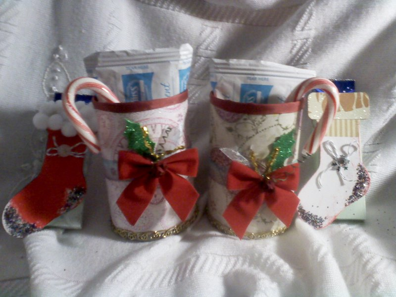 Altered Xmas can/ Hot Cocoa and treat stockings