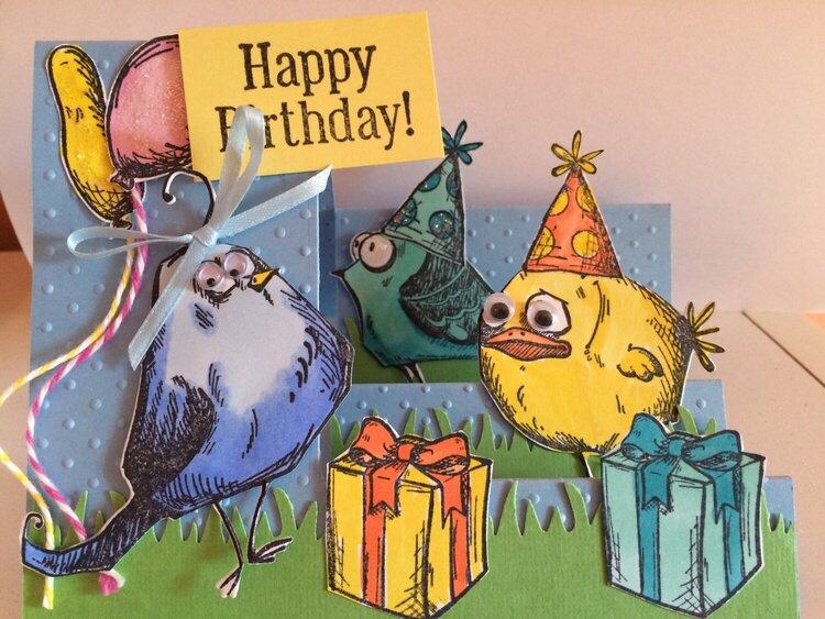 Crazy Birds B-Day card