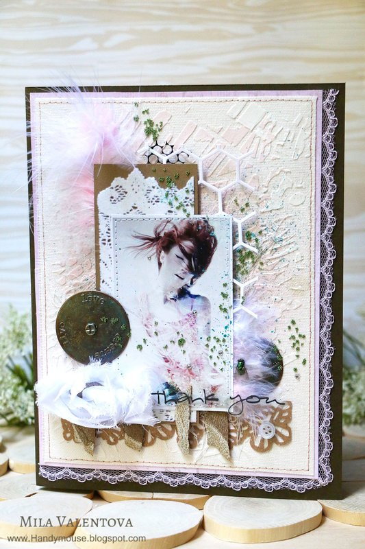 """Mixed-media card """"Thank you for your mood"""""""