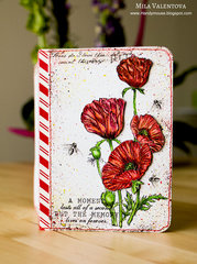 Passport cover fire poppies Mila Valentova