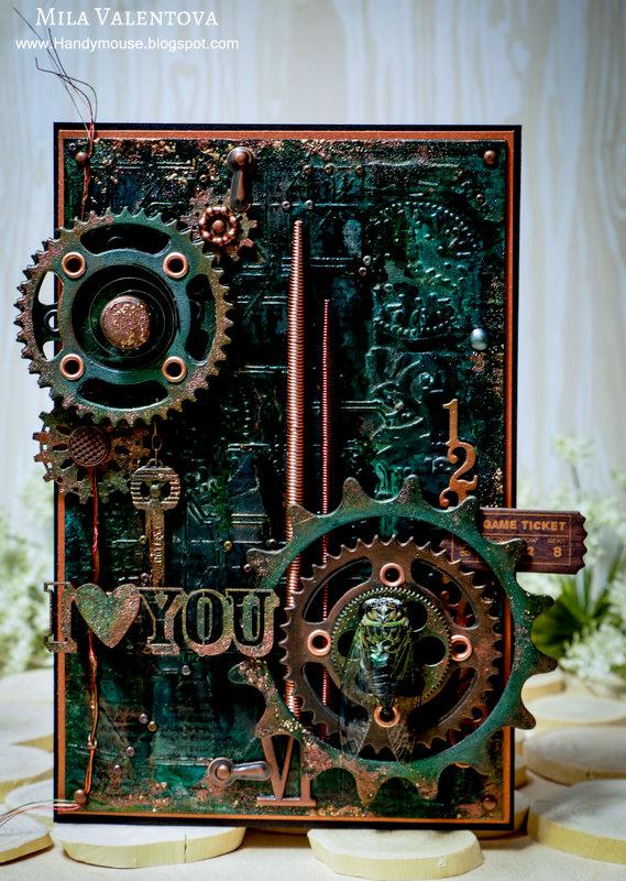 """Scrapbooking steampunk card """"I love you""""."""