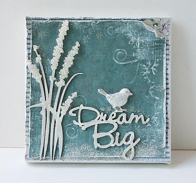 Dream big canvas using Blue Fern Studios chipboard