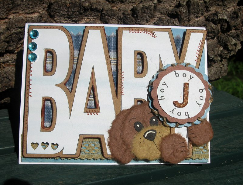 Paper Pieced Baby Card Handmade Baby Boy