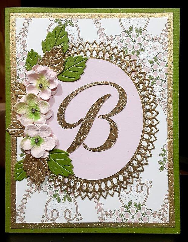 """Handmade Gold Pink & Green """"B"""" card"""