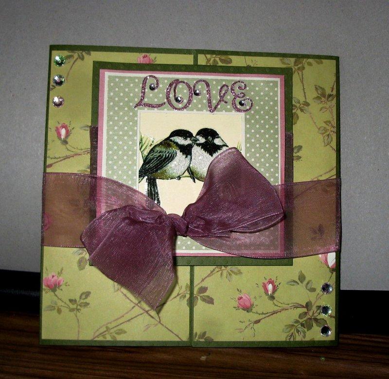 Handmade Gate Fold Love Birds Anniversary Card