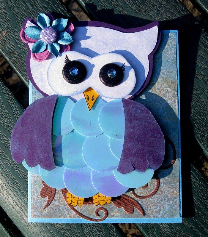 Paper Pieced Owl Card - Handmade Three Dimensional