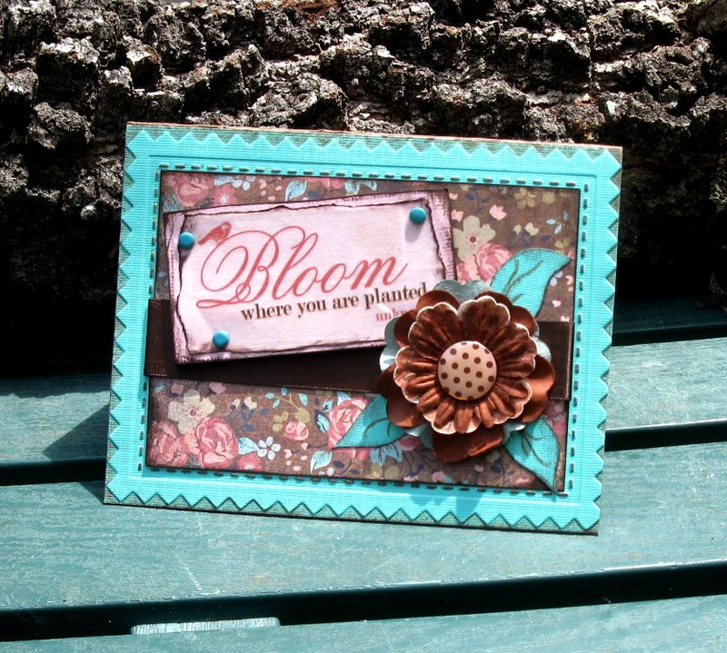 Teal brown and coral Bloom Where you are Planted Card