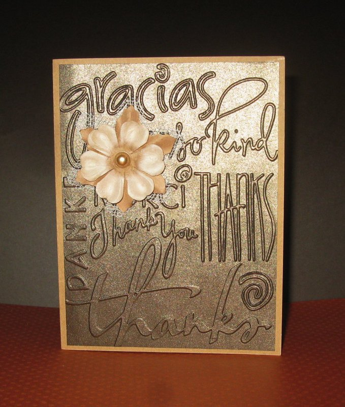 Bronze Embossed Thank you Card