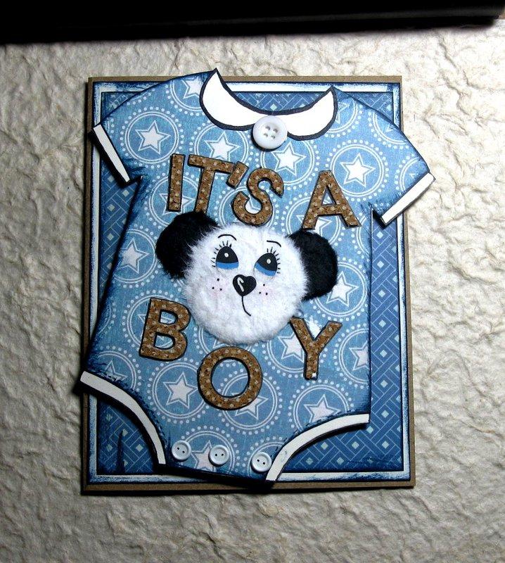 Paper Pieced Baby Boy Card - Onesie