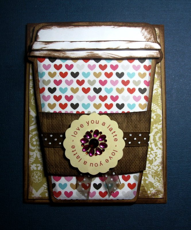 Paper Pieced Coffee Cup Card - Love You a Latte