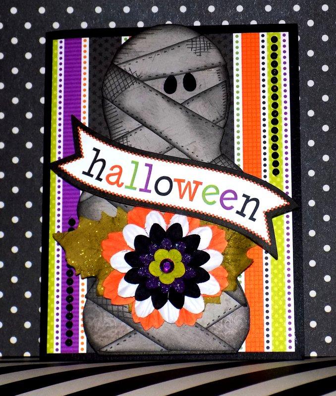 Three Dimensional Paper Pieced Mummy Halloween Card