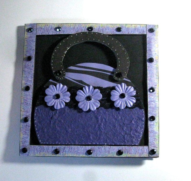 Handmade Purse or Handbag Card Purple and Black