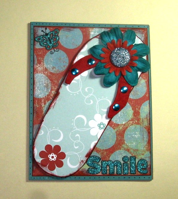 Handmade Paper Pieced Flip Flop Card - Smile