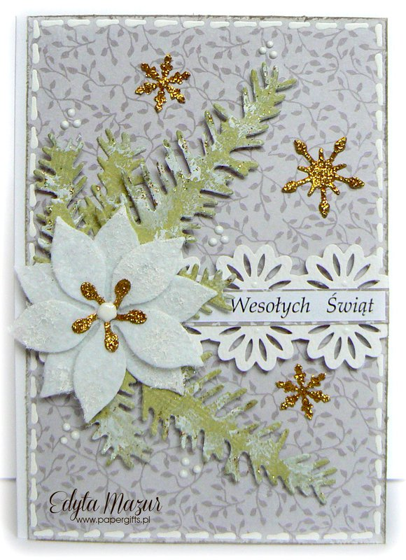 White poinsettia with gold - christmas card